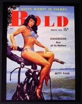 "Bettie Page In Sexy Blue Bikini 8.5""X11"" 2-SIDED PIN-UP 1955 Bold Magazine Photo - $7.84"