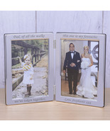 "Silver Plated Double Frame, ""Dad, of all the walks"" 