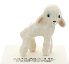 Hagen-Renaker Miniature Ceramic Lamb Figurine Wooly White - $8.49