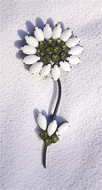 A Large Vintage Signed 'Weiss' White Milk Glass Flower Brooch Pin - $136.65