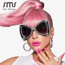 Sen Maries Diamond Sunglasses Women  Luxulry Brand  Butterfly Oversized Sunglass image 2