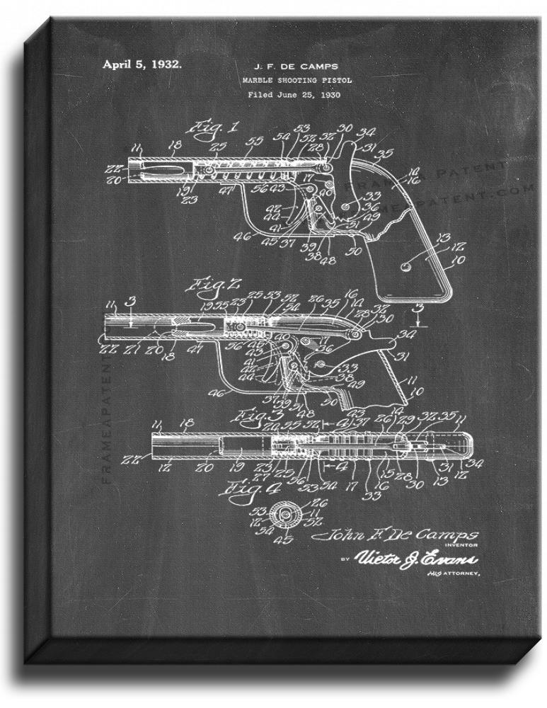 Primary image for Marble Shooting Pistol Patent Print Chalkboard on Canvas