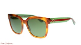 Gucci Women's Sunglasses GG0034S 003 Havana Green/Green Lens Square 54mm - $183.33