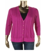 Lauren Ralph Lauren Wild Berry Pink Long Sleeve Cardigan Sweater 2X NWT ... - $34.65