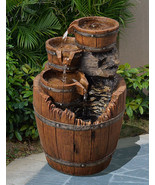 Outdoor Tiered Fountain Barrel Wood 4 - Tier Waterfall Electric Country ... - $108.89