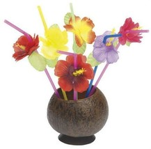 Straws Hibiscus Flower Luau 72 Straws Tableware Decorations Party Supplies  - $254,27 MXN