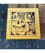 Stampendous! Pumpkin Dots Rubber Stamp 2004 Q115 Halloween Moon Stars Wo... - $6.68