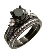 Women Three Stone Black Sterling Silver Wedding Engagement Ring Set Size 5-10 - $29.99