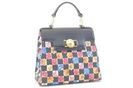 GIANNI VERSACE Nylon Leather Hand Bag Black Auth sa642 - $480.00