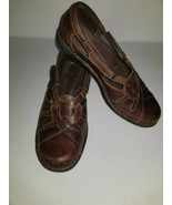 Clarks Bendables Nikki Regetta Size 9W Brown Leather Loafers 39334 Sanda... - $29.70