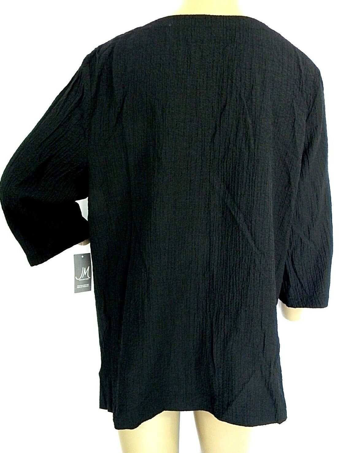 JM Collection Size Medium Blouse Womens Textured Keyhole Tunic Black Top NEW $54
