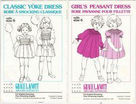 2X Grace Knott Girls Classic Yoke & Peasant Dress English Smocking Pattern S6 - $13.99