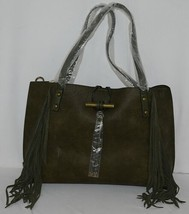 Simply Noelle Brand HB210 Sage Color Womens Fringed Toggle Loop Closure Purse image 1