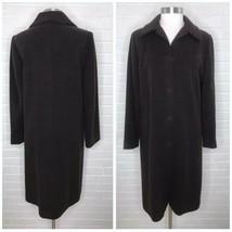 Eileen Fisher Medium M Brown Italian Wool Coat Peacoat Jacket Chocolate ... - $139.90