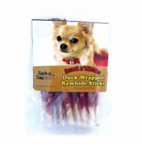 Alpha Dog Series Single Duck Wrapped Rawhide Sticks Treats, 4 oz - $6.99
