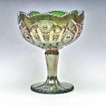 Imperial Carnival Glass Green Octagon Large Compote Comport Candy Chalice Label image 2