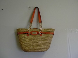 MICHAEL KORS Hamilton Natural Straw Large Chain Tote Handbag - $217.75