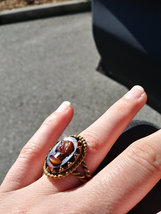 Vintage Shell Cameo Ring Open Marked W.Germany Adjustable 4-6 Hand Carved Rose G image 2