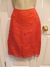 NWT $48 EXPRESS Burgundy Sheer 100% SILK Lined Embroidered Pencil Skirt Size 3/4 - $24.74