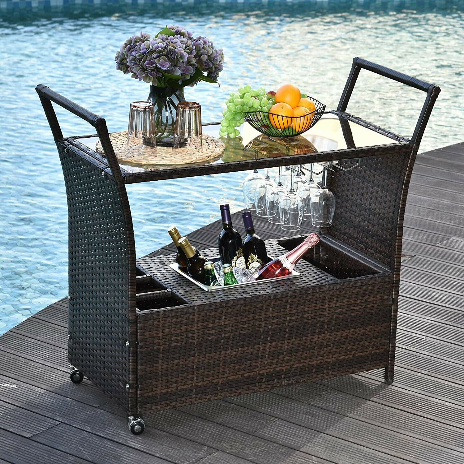 Primary image for Wicker Serving Bar Cart Ice Bucket Wine Rack Rolling Kitchen Dining Trolley
