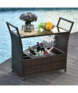 Wicker Serving Bar Cart Ice Bucket Wine Rack Rolling Kitchen Dining Trolley - £184.93 GBP