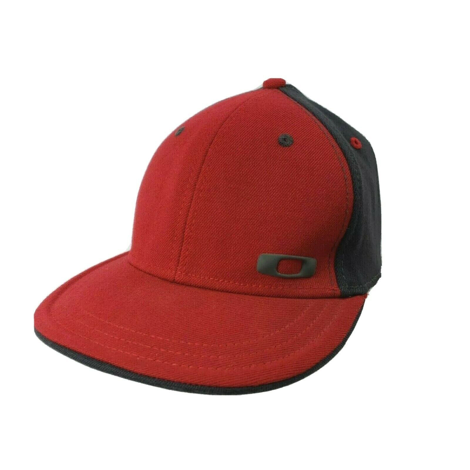 Primary image for Oakley Fitted Hat Cap A-Flex Size S/M Logo Red Gray Black Interior