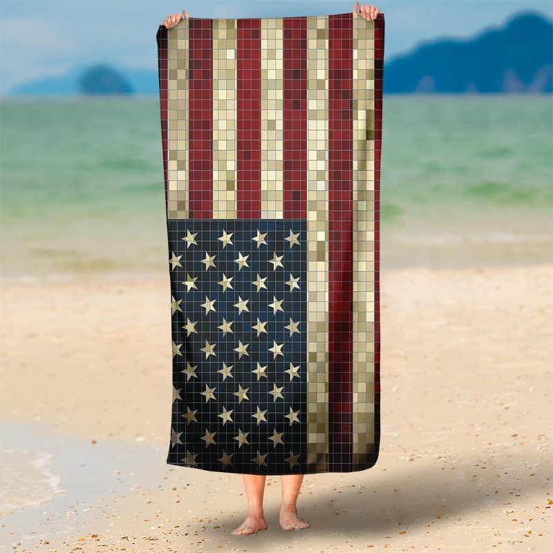 HOT-Vintage-Mosaic-American-Flag-Rectangle-Tapestry-Wall-Hanging-Round-Beach-Thr for sale  USA