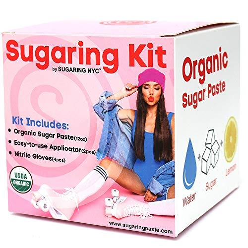 Sugaring Hair Removal Waxing Kit - Organic Sugaring Paste for Brazilian, Legs, A
