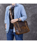 Sale, Horse Leather Men Briefcase, Retro Messenger Bag, Tote Bag - $165.00