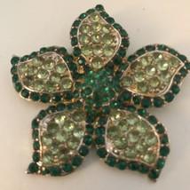 Large Vintage Shade Of Green Glass Rhinestone Flower Brooch J0318 - $12.34