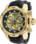 NEW INVICTA RESERVE VENOM 90147 GOLD STAINLESS STEEL BLACK RUBBER BAND W... - $346.49
