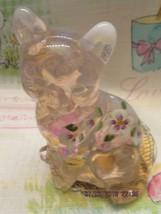 FENTON ART GLASS 2001 PINK CHIFFON OPALESCENT CAT W/HP FLORAL - $35.00