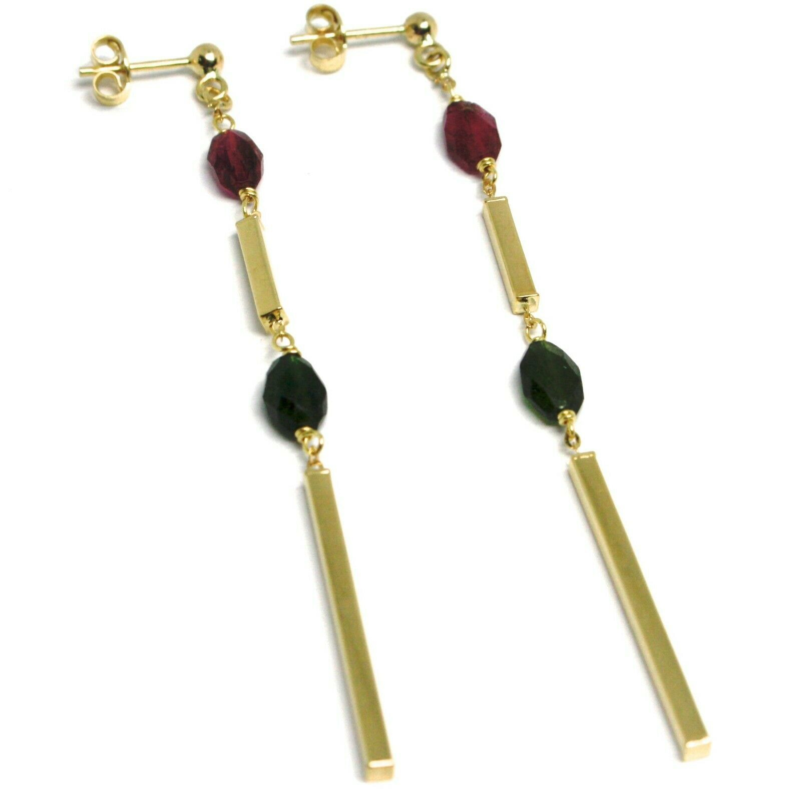 18K YELLOW GOLD PENDANT EARRINGS, FACETED OVAL PURPLE GREEN TOURMALINE, TUBES