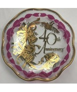 Lefton Glass Plate 40th Anniversary Gift Charger Celebration Decor Gold ... - $34.64
