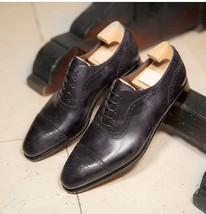 Handmade Men's Black Heart Medallion Lace Up Dress/Formal Oxford Leather Shoes image 1