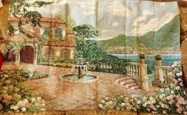 "Large wall Tapestry Mediterranean Villa View Sea Mountain Terrace  58"" x... - $99.00"