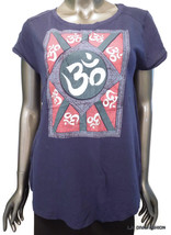 Women's LUCKY BRAND Navy Graphic Print T-Shirt Tee Top Cap Sleeve Large - $16.95