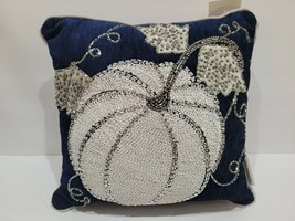 """Thanksgiving Fall Holiday Blue Pumpkin Beaded Throw Pillow 12"""" x 12"""" NEW - $34.64"""