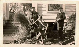 Antique Vintage Photograph Men Sawing Wood in Front of House - $5.35