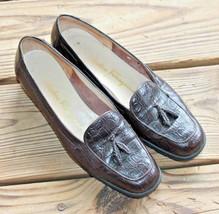 Salvatore Ferragamo Size 5.5 B Croc Brown Leather Tassel Loafers Mocs Slip On - $32.29