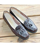 Salvatore Ferragamo Size 5.5 B Croc Brown Leather Tassel Loafers Mocs Sl... - $32.29