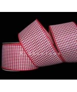 """10 Yards Red White Gingham Small Checked Wired Ribbon 2 1/2""""W Florist, F... - $25.65"""