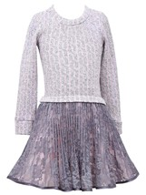 Girls Plus Pink/Ivory Cable Knit to Crystal Pleat Lace Drop Waist Dress