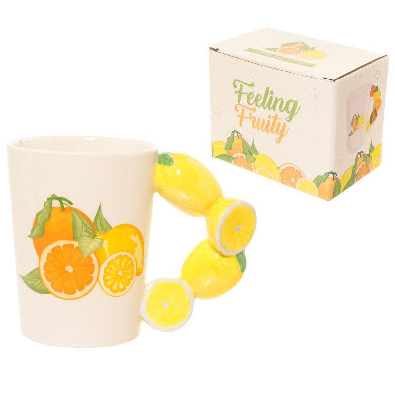 Fun Fruity Lemons Shaped Handle Ceramic Mug Gift Present Kitchenware - $14.33
