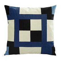 Black Temptation [Blue Puzzle] Handmade Canvas Decorative Pillow Unique Grid Cus - $38.50