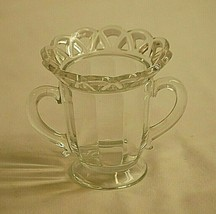 Lace Edge Clear by Imperial Glass Ohio Open Footed Sugar Bowl Paneled Sides - $17.81