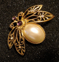 Avon Natures Flight Pin Gold Plated Faux Pearl Cab Beetle Lapel Brooch V... - $29.66