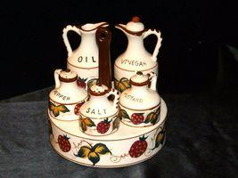 Ceramic Oil, Vinegar, Mustard, Salt, and Pepper on a Caddie AA19-1640 Vintage image 8