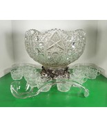 Vintage LE Smith Glass DAISY AND BUTTON 14-pc Punch Bowl Set with Metal ... - $247.45