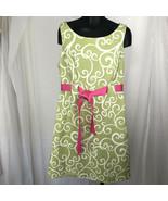 Jessica Howard Womens Size 12 Green Spring Summer Sleeveless Belted Shea... - $20.05